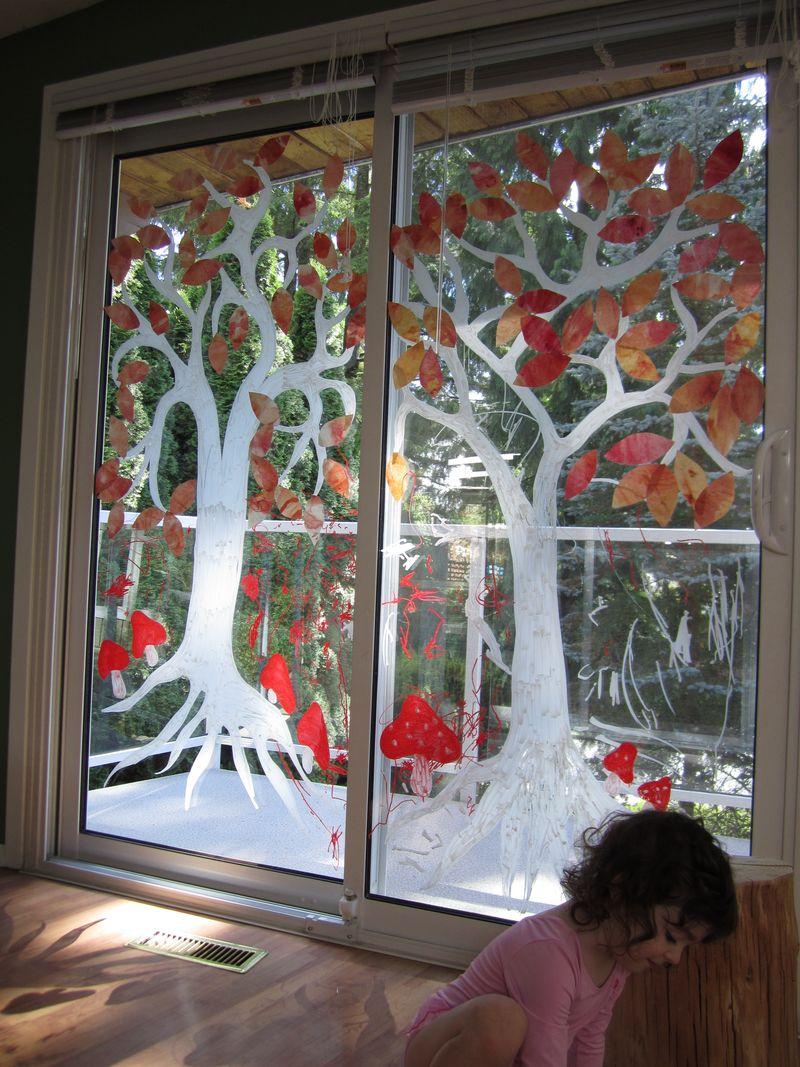 Autumn Tree Window Painting  Hugger Boo