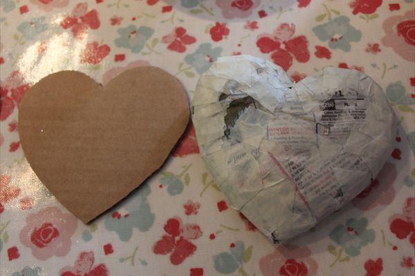papier mache hearts hugger boo